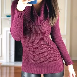 BCX Purple Turtle Neck Sweater, Sparkle, XS